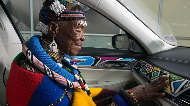 Esther Mahlangu inside BMW